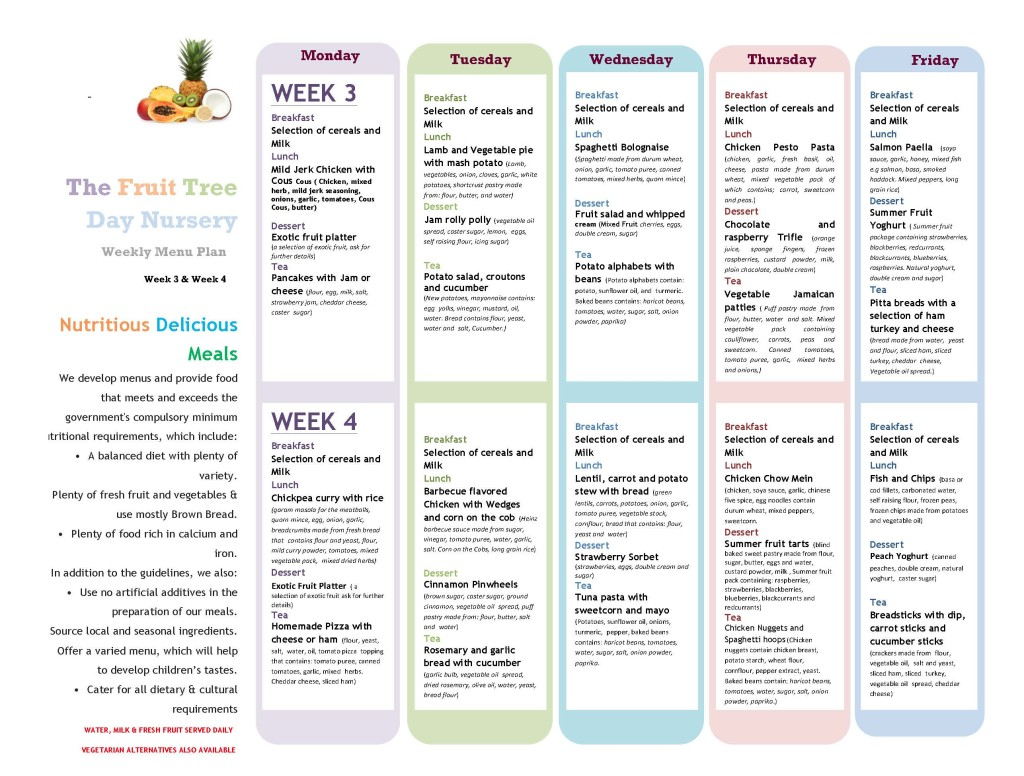 Menu Week 3 and 4 (May 2015) revised